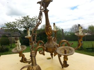 Vintage French Empire Style Ornate Gilt Bronze/brass Chandelier Ceiling Light photo