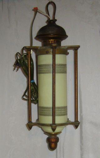 Antique Industrial Vaseline Custard Glass Hanging Cast Brass Ceiling Fixture photo