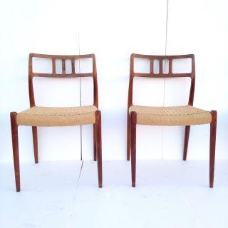 Pair Danish Mid Century Modern Moller Dining Side Chairs Rosewood 79 Wegner Era photo