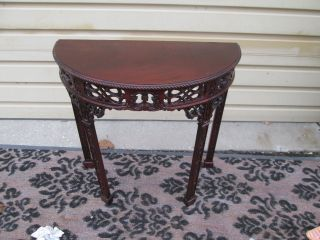 54980 Antique Mahogany Chippendale Carved Deminlune Hall Table Stand photo