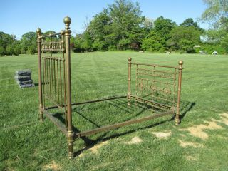 Antique Full Size Brass Bed Frame Headboard Footboard Very Ornate photo