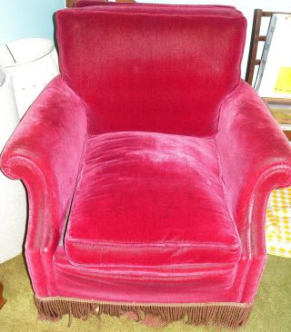 Red Mohair Club Chair Gold & Red Rope Fringe 1930s photo