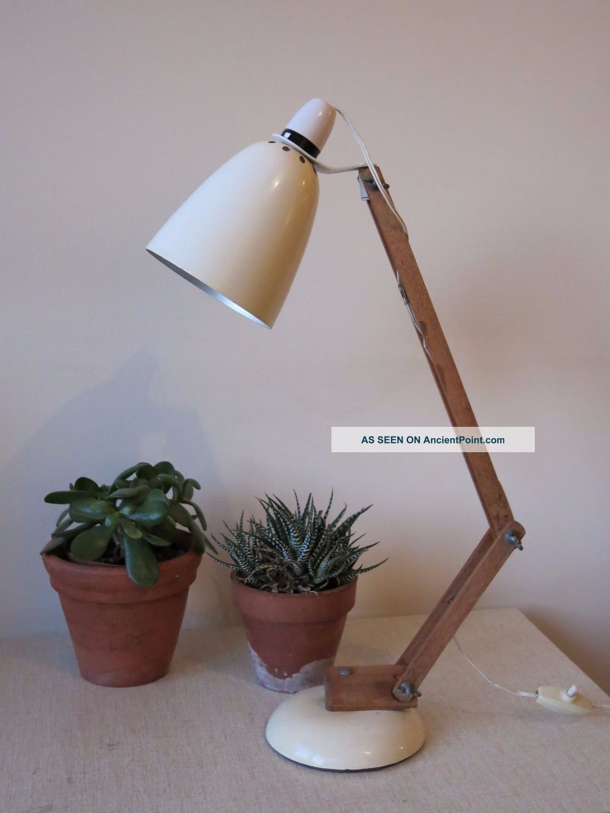 Vintage White Conran Maclamp 20th Century Desk Lamp With Wooden Arms 20th Century photo