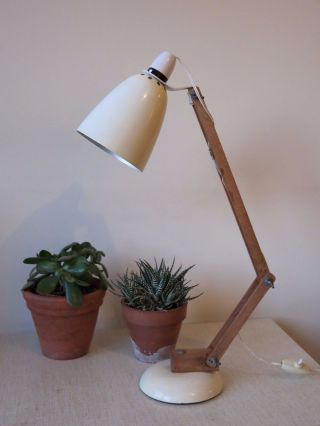 Vintage White Conran Maclamp 20th Century Desk Lamp With Wooden Arms photo