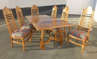 Vtg ' 64 Drexel Esperanto Refectory Trestle Dining Table & Six Ladderback Chairs photo