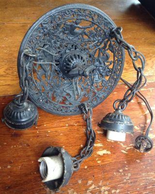 Antique Vtg Cast Wrought Iron Chandelier 3 Hanging Light Ocean Beach Triton photo