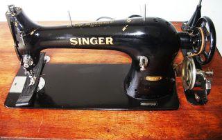 Singer 31 - 15 Industrial Antique Sewing Machine C.  1899,  Cast Iron Base,  Motor 1922 photo