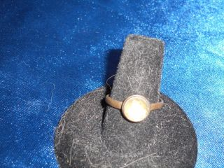 Rare Find A 1st - 3rd Century Roman Bronze Ring W/round Faceted Cut Yellow Stone photo