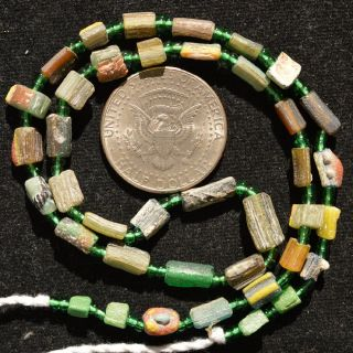 Ancient Roman Glass Beads 1 Medium Strand Yellow And Green 100 - 200 Bc 0243 photo