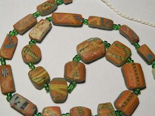 Ancient Fragment Glass Mosaic Beads Strand Roman 200 Bc Ml234 photo