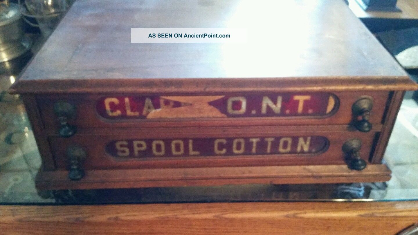 Antique 1886 2 Drawer Ruby Glass Clarks Store Spool Cabinet Thread Display Furniture photo