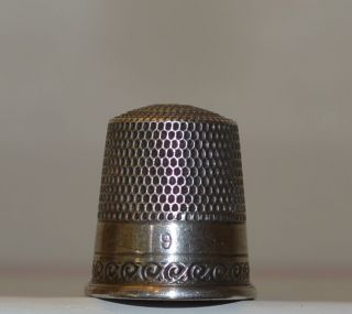 Antique,  Circa 1884 - 1928,  Waite,  Thresher Sterling Silver Sewing Thimble,  Size 9 photo