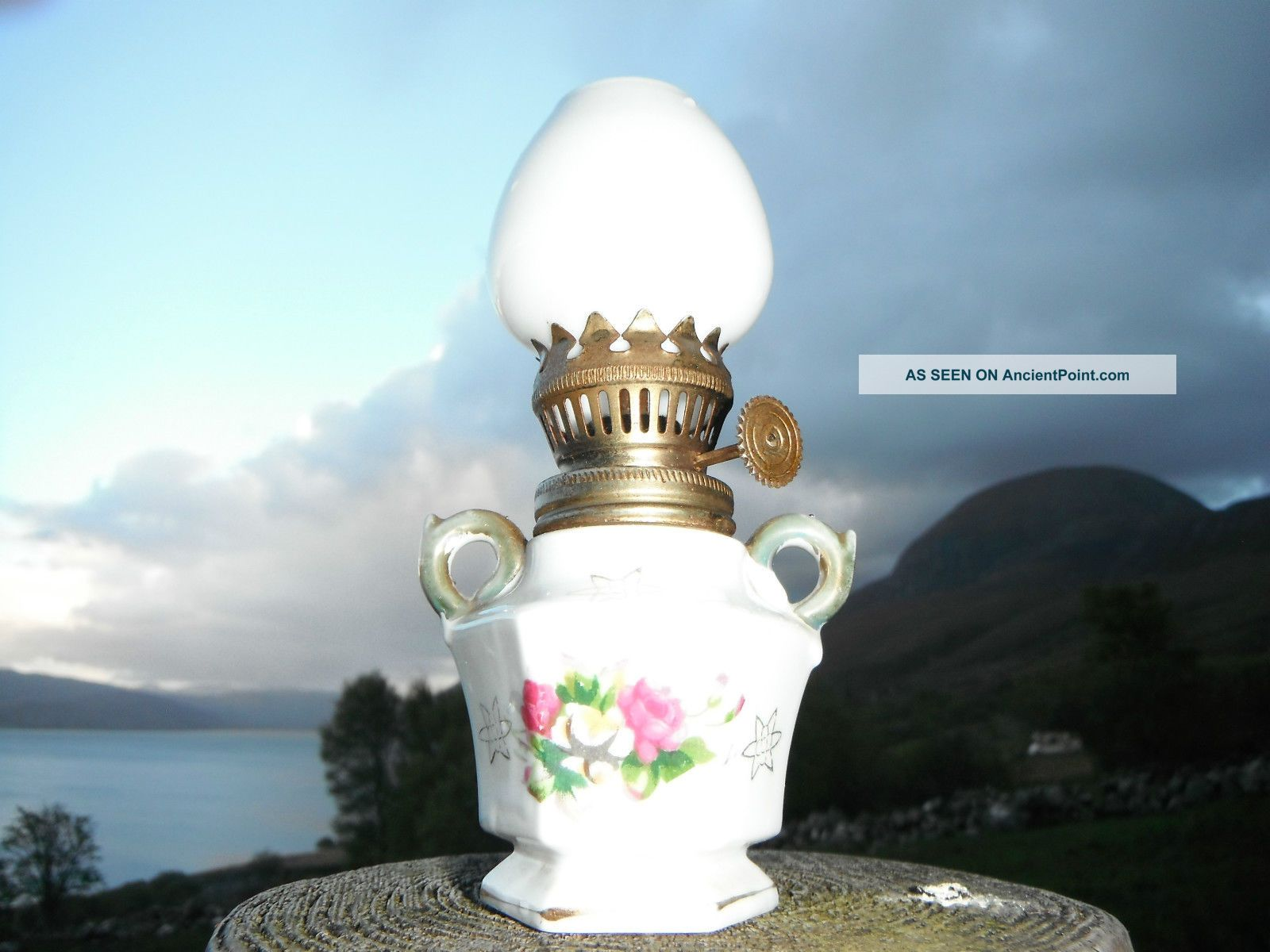 Vintage Hand Painted Miniature Parafin Lamp Empire Made Roses Detail.  Milk Glass 20th Century photo