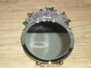 Vintage Barbola Mirror2 With Moulded Flowers & Easel Stand photo