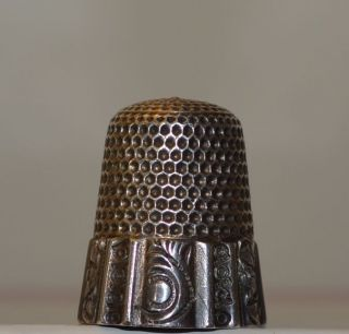 Antique,  Circa 1884 - 1928 Waite,  Thresher Sterling Silver,  Thimble,  Sewing Size 8 photo