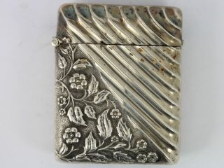 Vesta Case Antique Late Victorian 1892 Solid Sterling Silver Striker A9 photo