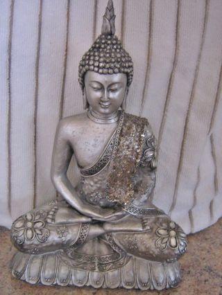 Meditation Buddhas Statue.  Adorned In Sparkley Stone / Elements photo