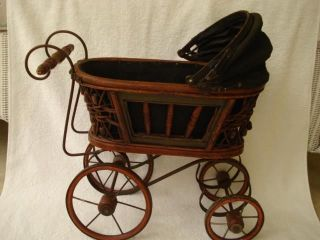 Vintage 16 Inch Wood Metal Wicker Baby Doll Carriage Buggy Stroller Antique photo