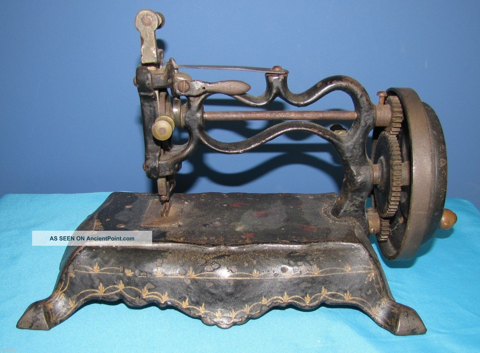 Antique Vintage Paw Foot Sewing Machine England Style Hand Painted Sewing Machines photo