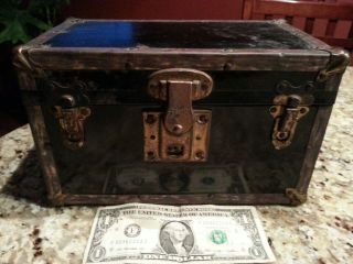 Vintage Black Small Child Doll Metal Covered Steamer Trunk Chest W/insert Tray photo