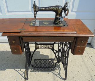 1909 Model 27 Singer Treadle Sewing Machine Industrial Strength W/ Attachments photo