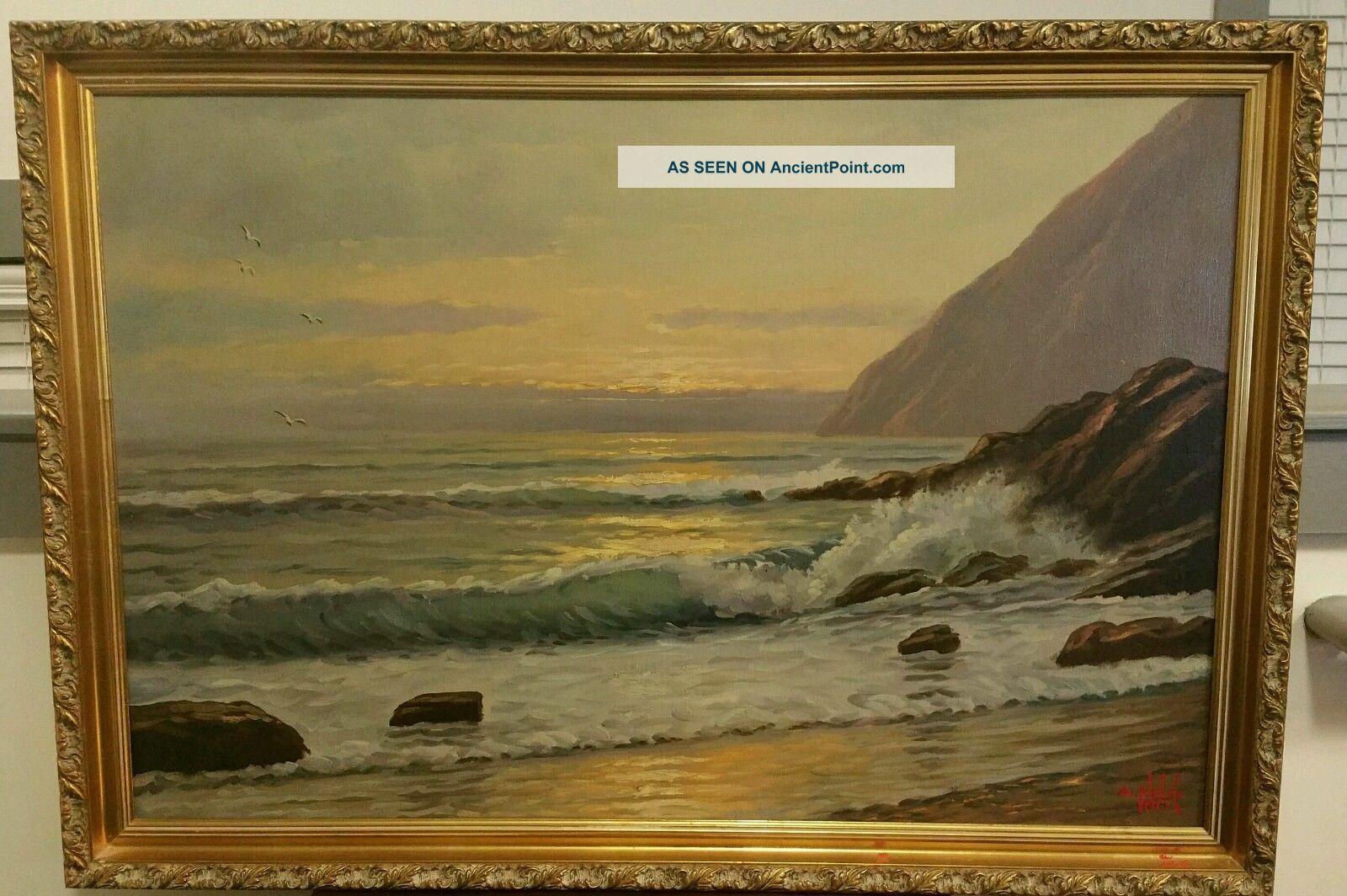 Incredible Seascape Oil On Canvas By Famous Artist A Nelke Other Maritime Antiques photo