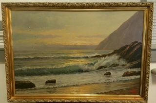 Incredible Seascape Oil On Canvas By Famous Artist A Nelke photo