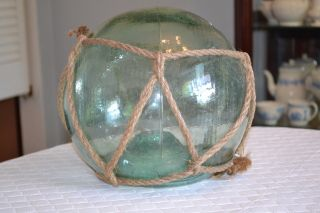 Vintage Very Large Green Glass Fishing Float Blown With Pontil photo