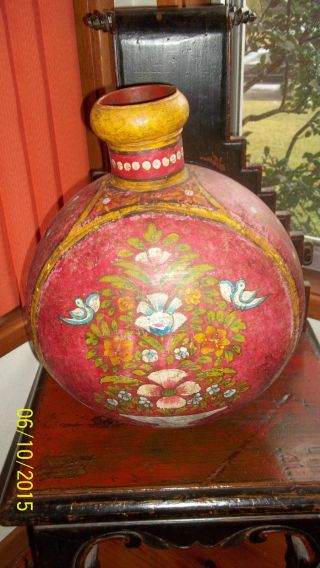 Large Handpainted Indian Metal Vintage Antique Water Urn Pot Jug - Decor Vase photo
