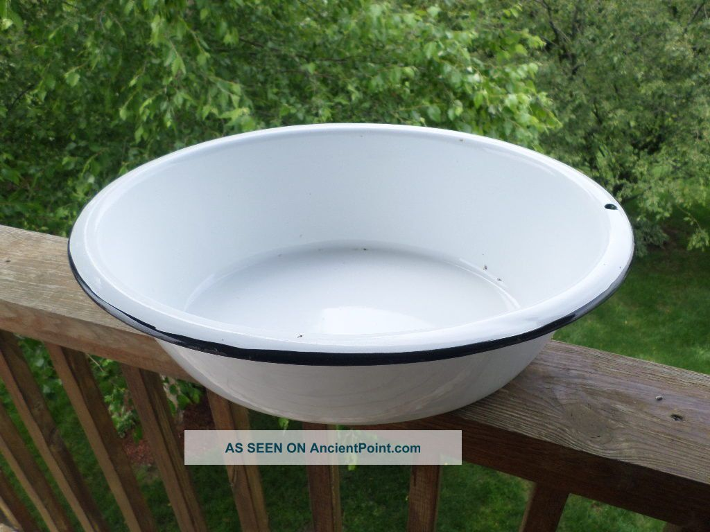 ... Oval Vtg Antique Porcelain Enamel Laundry Wash Baby Tub Basin Bath