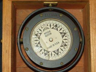 Antique Maritime Compass Complete Boxed Ritchie Boston Usa Rare photo