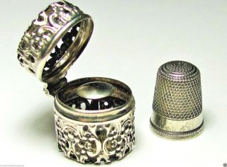 Rare Antique Victorian Webster Sterling Silver Chatelaine Thimble Holder&thimble photo