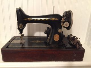 Vintage Antique 1928 Electric Singer 128 Sewing Machine Wood Carry Case And Key photo