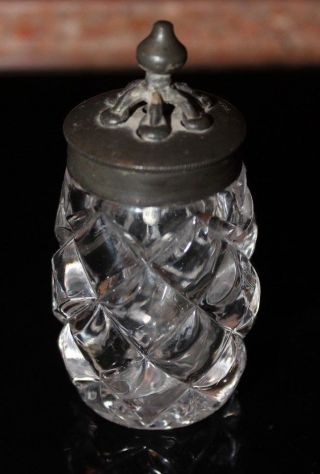 Very Rare Antique Salt Shaker With Pewter Lid Heavy Glass 1800 ' S Eapg photo