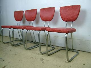4 1950 ' S Diner Soda Shop Kitchen Chairs Chrome Vinyl Mid Century Red photo