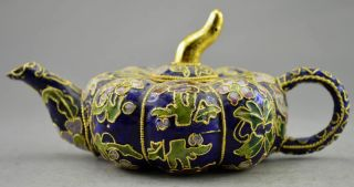 Collectible Decorated Old Handwork Cloisonne Carved Flower Pumpkin Tea Pot photo