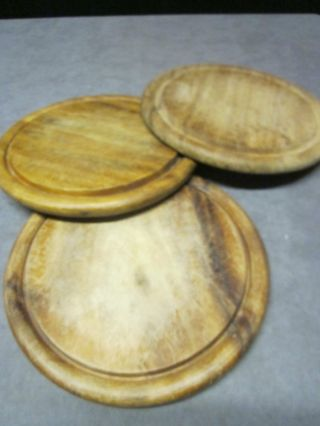 3 Matching Cutting Boards - Breads & Meats - Two - Sided - 10 Inches Diameter photo