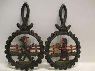 Two Vintage Wrought Iron Folk Art Trivets Hand Painted photo