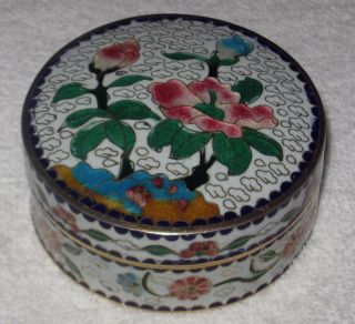 Antique/vintage Chinese China Enameled Cloisonne Vanity Box Cobalt Glass Flowers photo