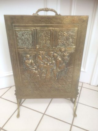 Antique Vintage Victorian Embossed Footed Fire Screen Fireplace