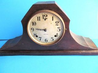 Vintage Gilbert Clock Shelf Mantel 1896 Patent Chimes Parlor Steampunk Wood photo