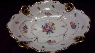 Antique Jl Menau Footed Porcelain Centerpiece - Oval Platter photo