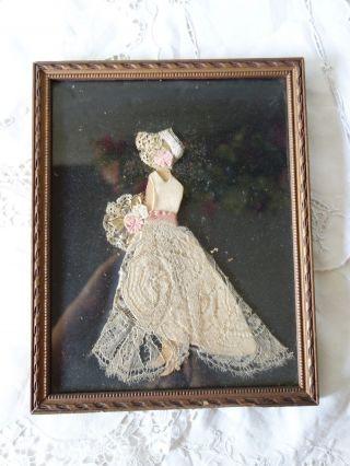 Antique Cloth Silhouette Simple Lace Dress Women Primitive Picture Fabric Framed photo