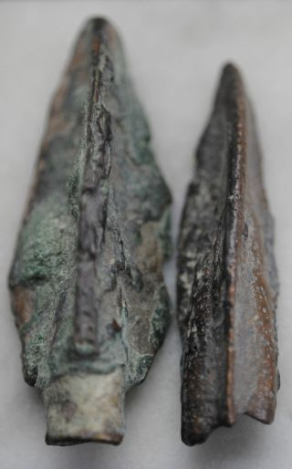 Two Ancient Persian Bronze Age Period Arrow Heads 2000 Bc photo