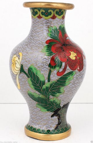 Vintage/antique Small Chinese Cloisonne Enamel Vase Grey/lavender Red Flowers 2 photo