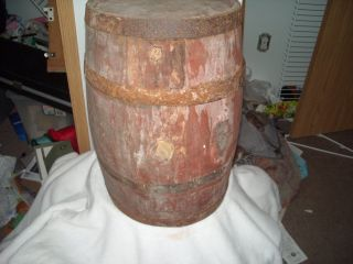 Antique Small Old Wood Wine Beer Whiskey Barrel Keg Steel Bands A Real Beauty photo