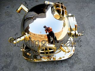 Morse U.  S Navy Mark V Solid Brass Divers Helmet Full Size In Nikil photo