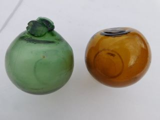 Two Japanese Glass Float - One Deformed Green photo