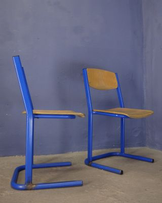 Vintage Industrial School Dining Chairs Metal Plywood 60s 70s 80s photo