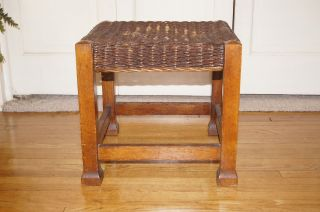 Antique Stool,  Arts & Crafts,  Mission Flared Feet,  Stickley - Roycroft - Maybeck Era photo